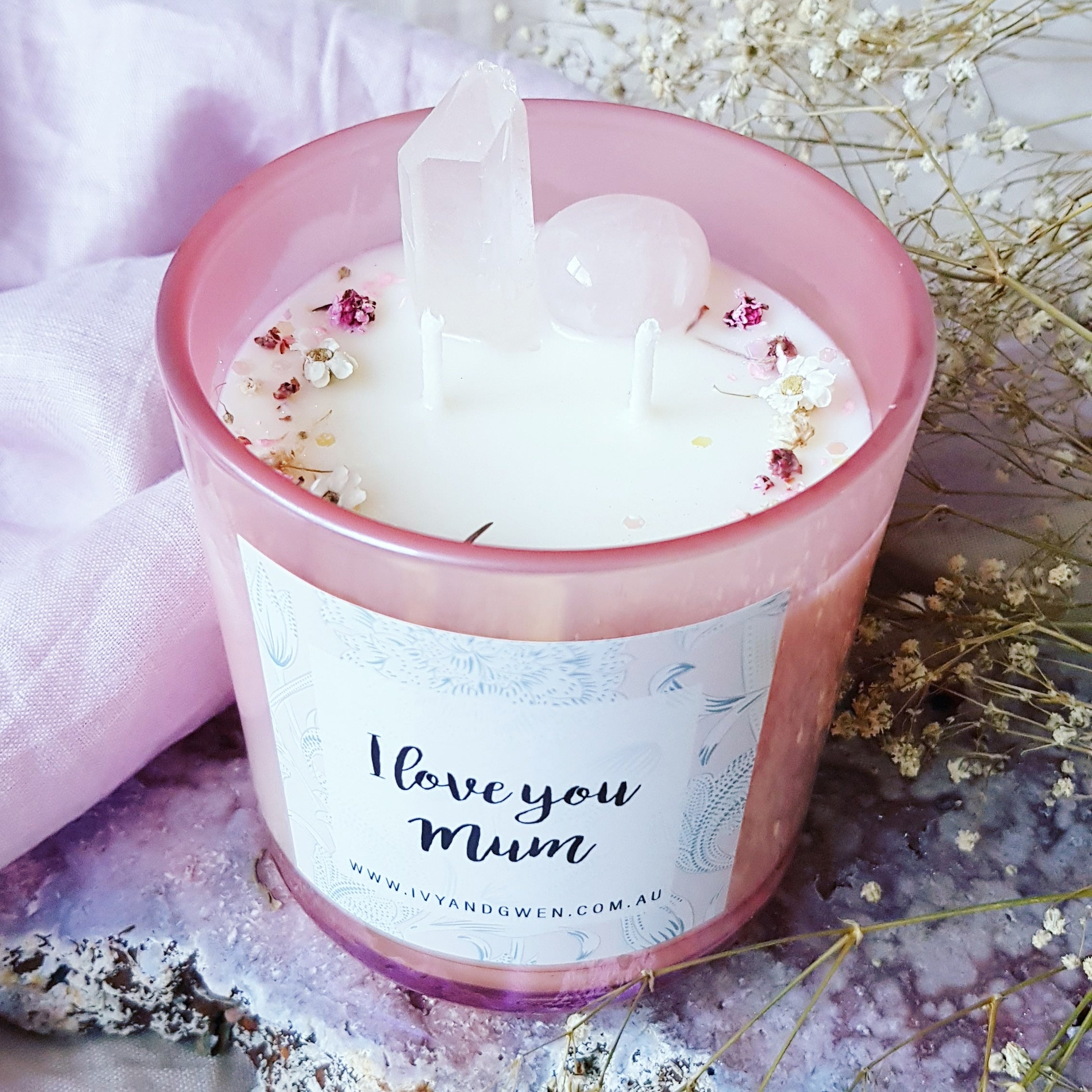 Mothers Day Crystal Candle - Rose Quartz