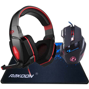 EACH LED Light Gaming Headset + Pro Gaming Mouse & Mousepad Combo