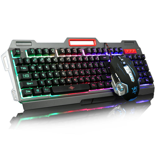 Rainbow or Yellow LED Backlight Pro Gaming Keyboard / Mouse Combo USB Wired Full Key 3200 dpi Pro Gaming Mouse