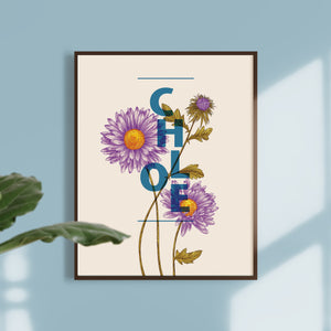 Personalised Aster Flower Botanical Print