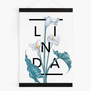 Personalised Calla Lily Flower Botanical Art Print