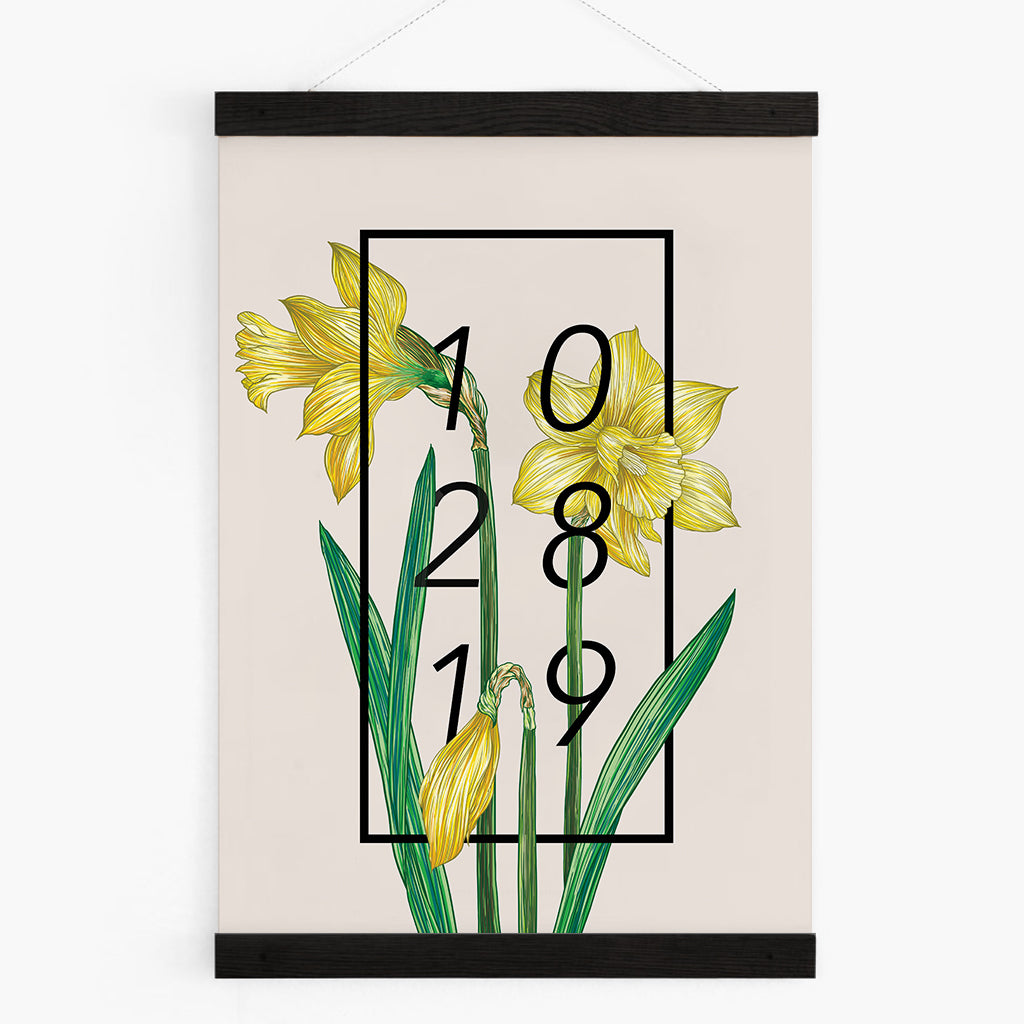 Personalised Date Daffodil Botanical Flower Print