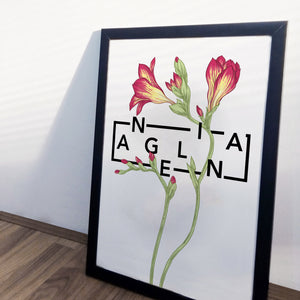 Personalised Freesia Botanical Flowers Print