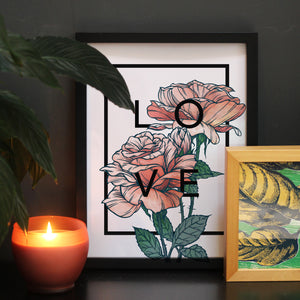Personalised Rose Botanical Flower Print