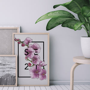 Personalised Orchid Botanical Flower Print