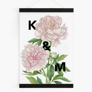 Personalised Peony Botanical Flower Print
