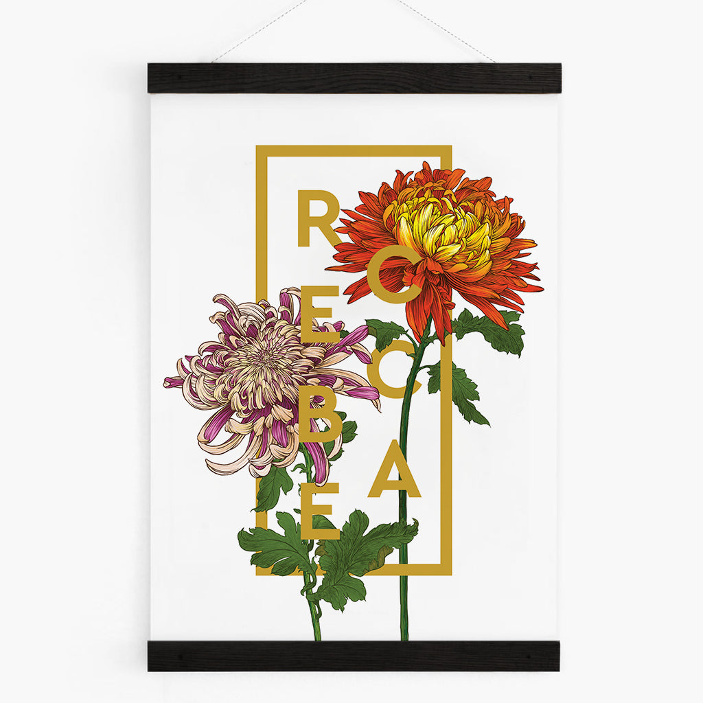 Personalised Chrysanthemum Flower Botanical Print