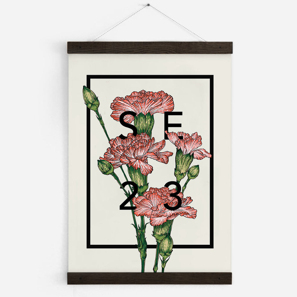 Personalised Carnations Botanical Flower Art Print