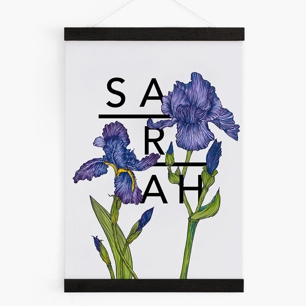 Personalised Iris Botanical Flowers Art Print