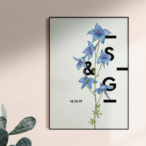 Personalised Larkspur Botanical Flower Art Print