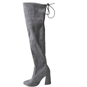 Over The Knee Block Heel Boots For Women - Altairboutique