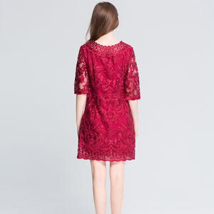 Red Lace Party Dress - Altairboutique