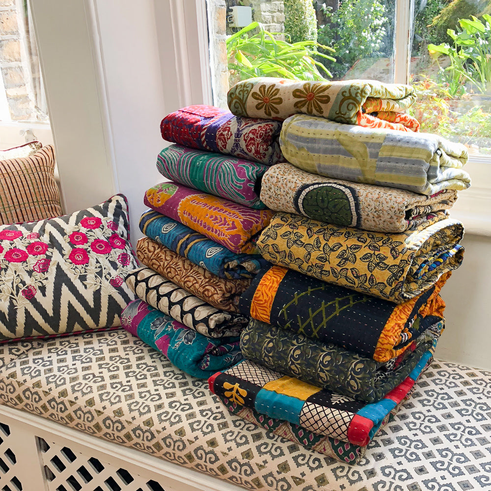 Kantha Throws Blankets