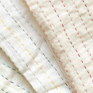 Kantha swaddle blankets natural cotton - Anokha Collection
