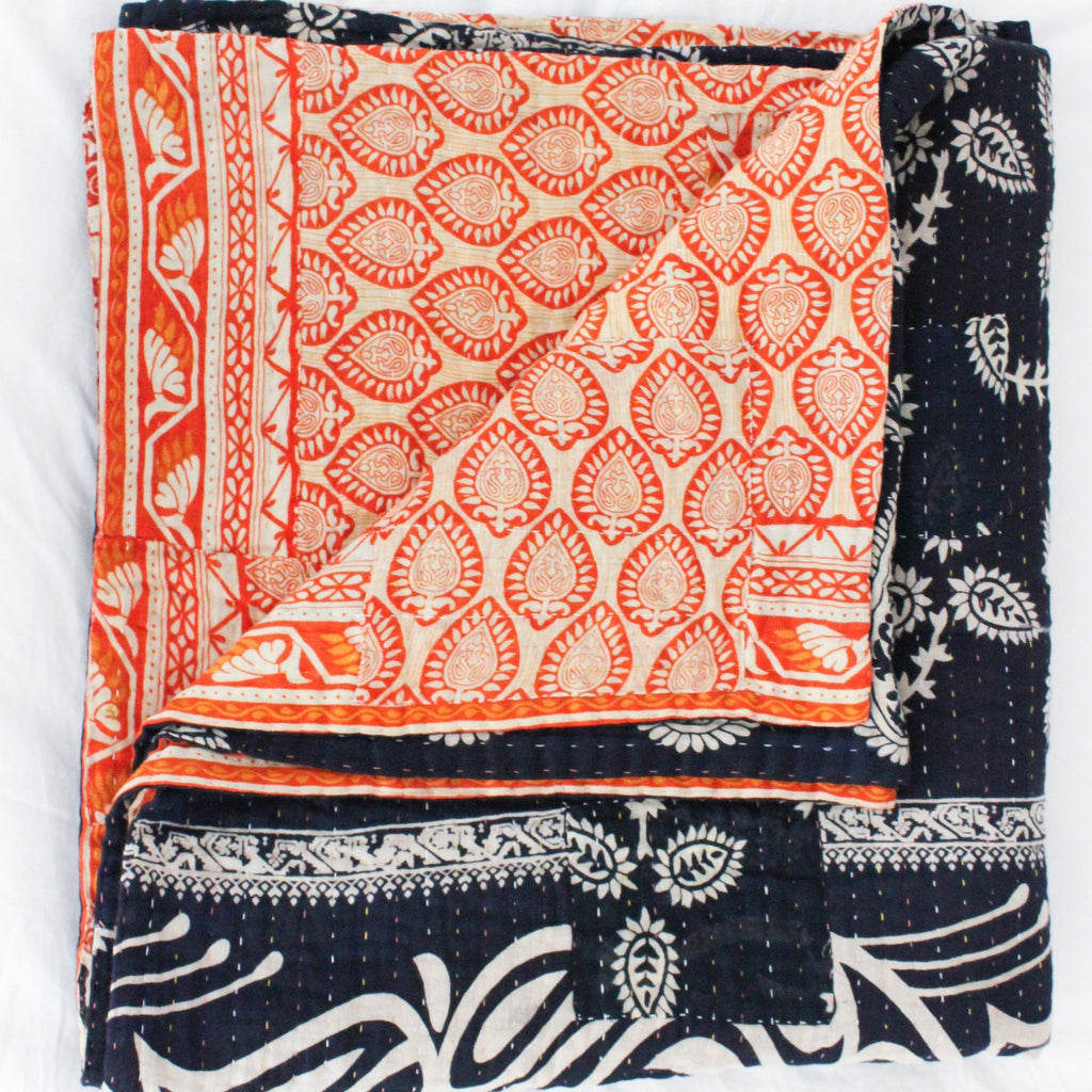 kantha quilt in blue and orange - Anokha Collection