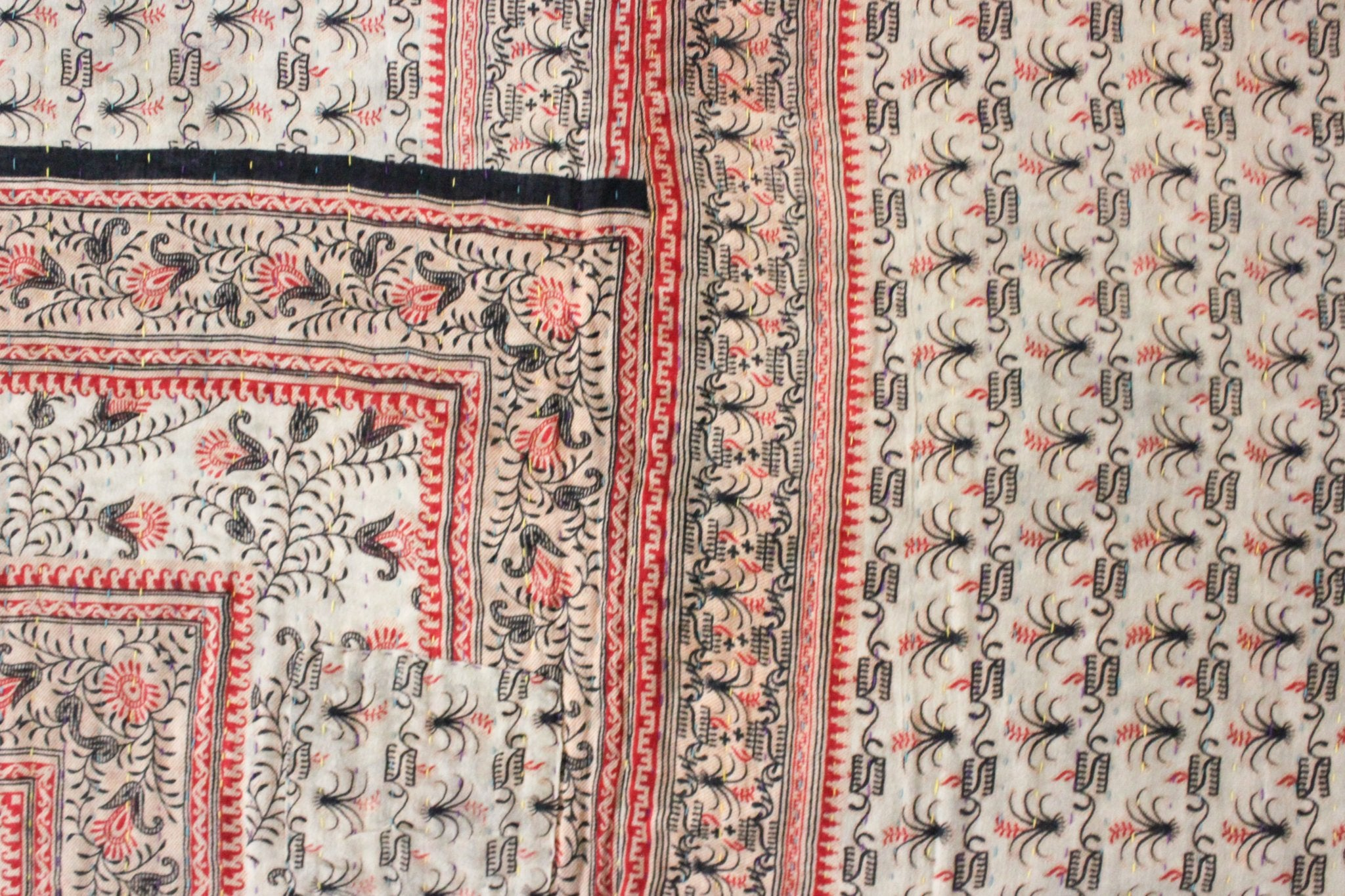 Vintage Kantha Quilt in pink detail- Anokha Collection