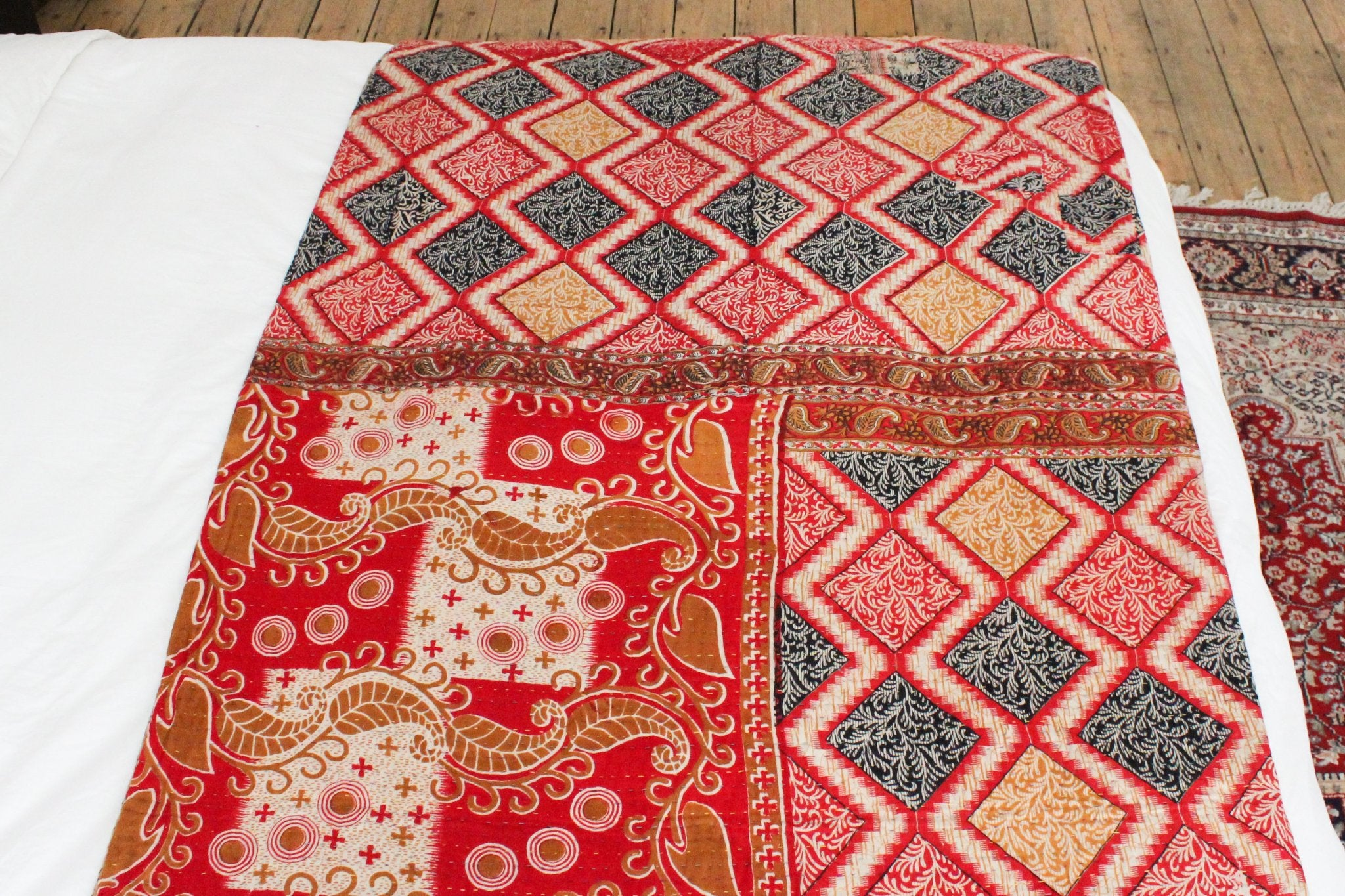 red kantha throw- Anokha Collection