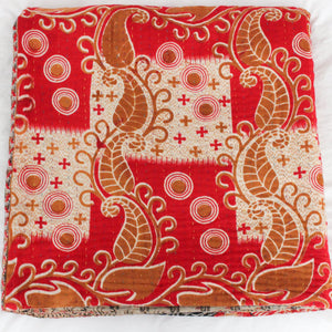 red Kantha Quilt folded- Anokha Collection