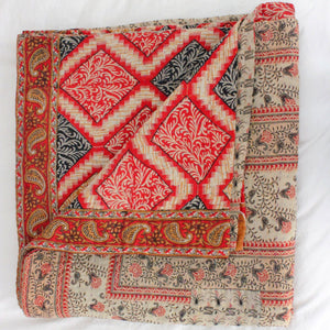 Vintage Kantha Quilt in red- Anokha Collection