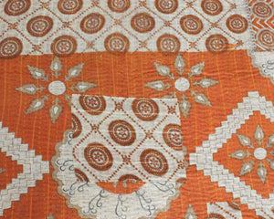 Vintage Kantha Quilt with orange pattern - Anokha Collection