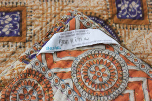 Yellow and purple Kantha Quilt label - Anokha Collection