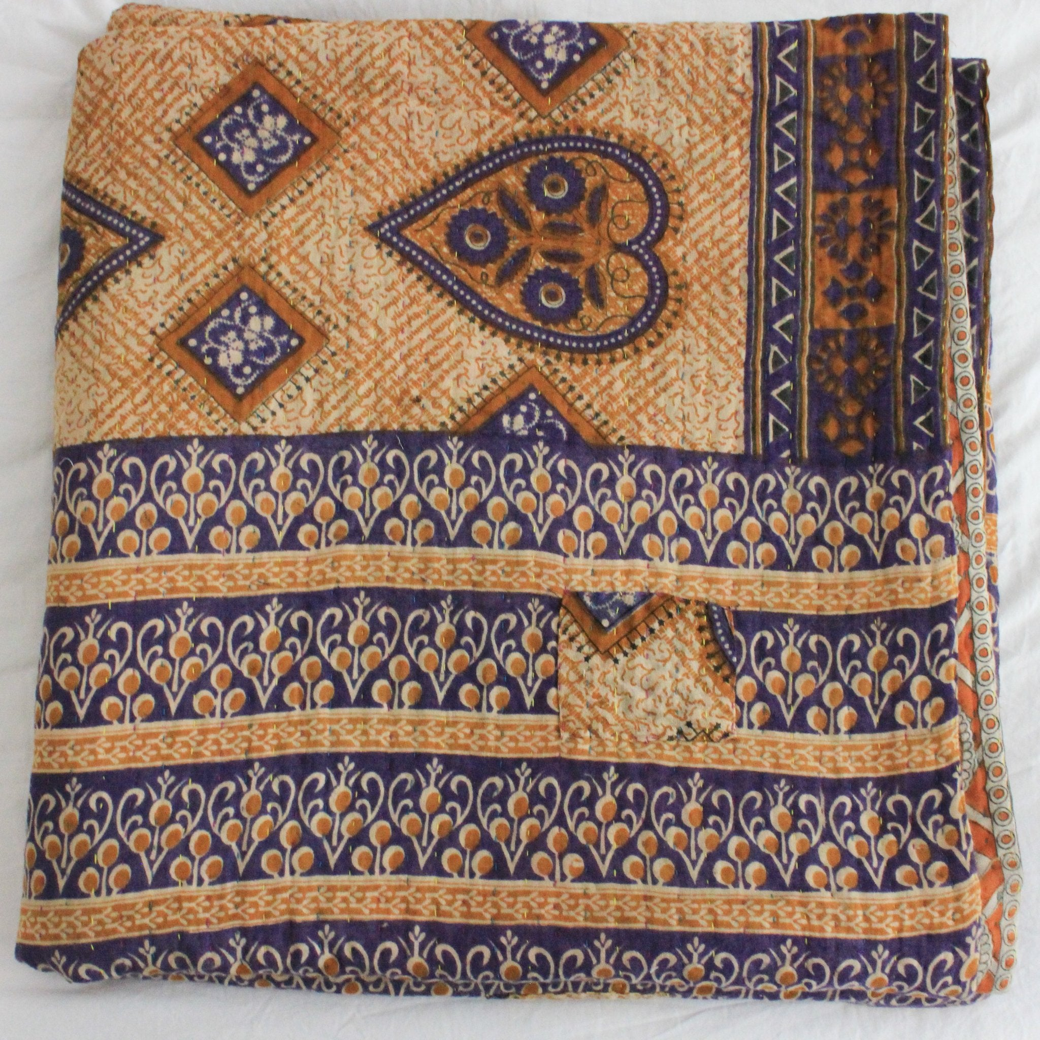 Vintage Kantha Quilt yellow and purple folded - Anokha Collection