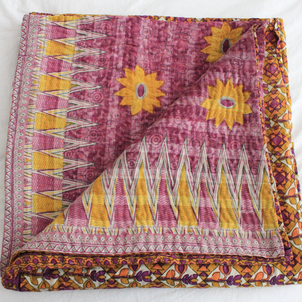 Vintage Kantha Quilt in pink  and yellow - Anokha Collection