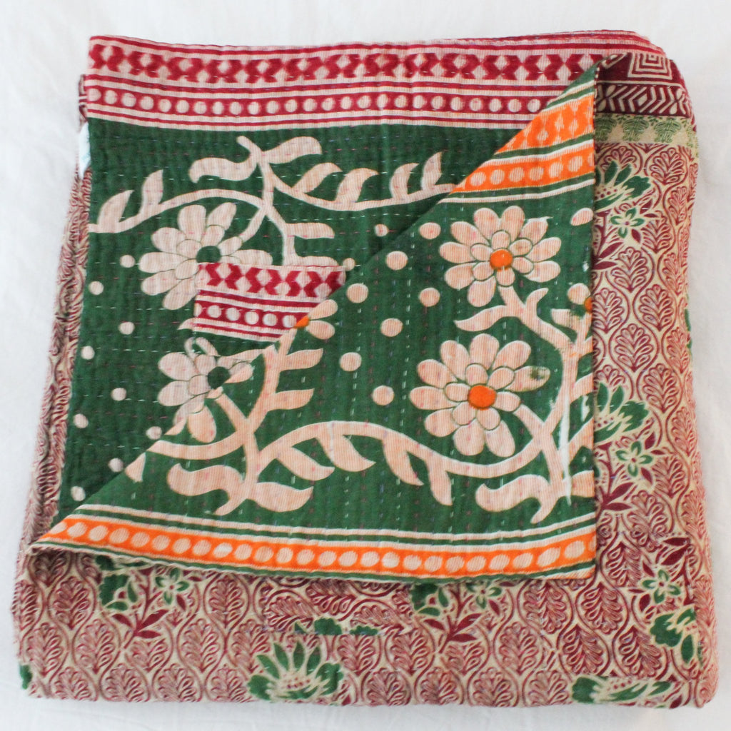 Green Kantha Quilt - Anokha Collection