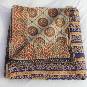 Vintage Kantha Quilt in yellow, purple and orange  - Anokha Collection