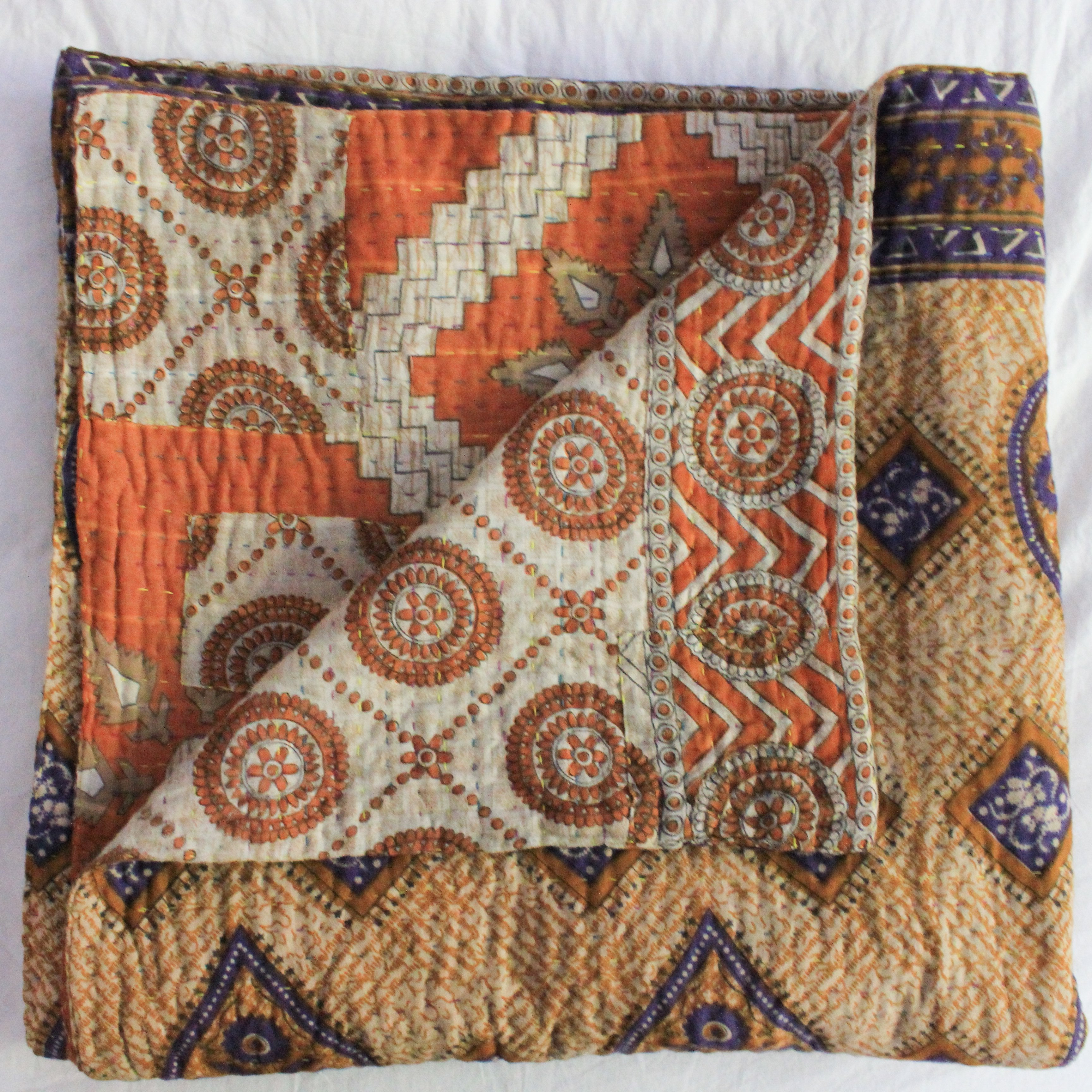 Vintage Kantha Quilt in orange and purple - Anokha Collection