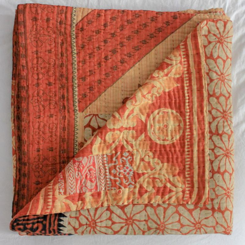 kantha quilt yellow and orange - Anokha Collection