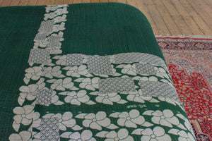 Vintage Kantha bedspread in dark green - Anokha Collection