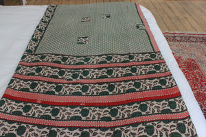 Vintage Kantha throw in dark green - Anokha Collection