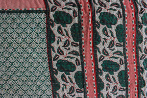 Vintage Kantha Quilt in dark green and red - Anokha Collection