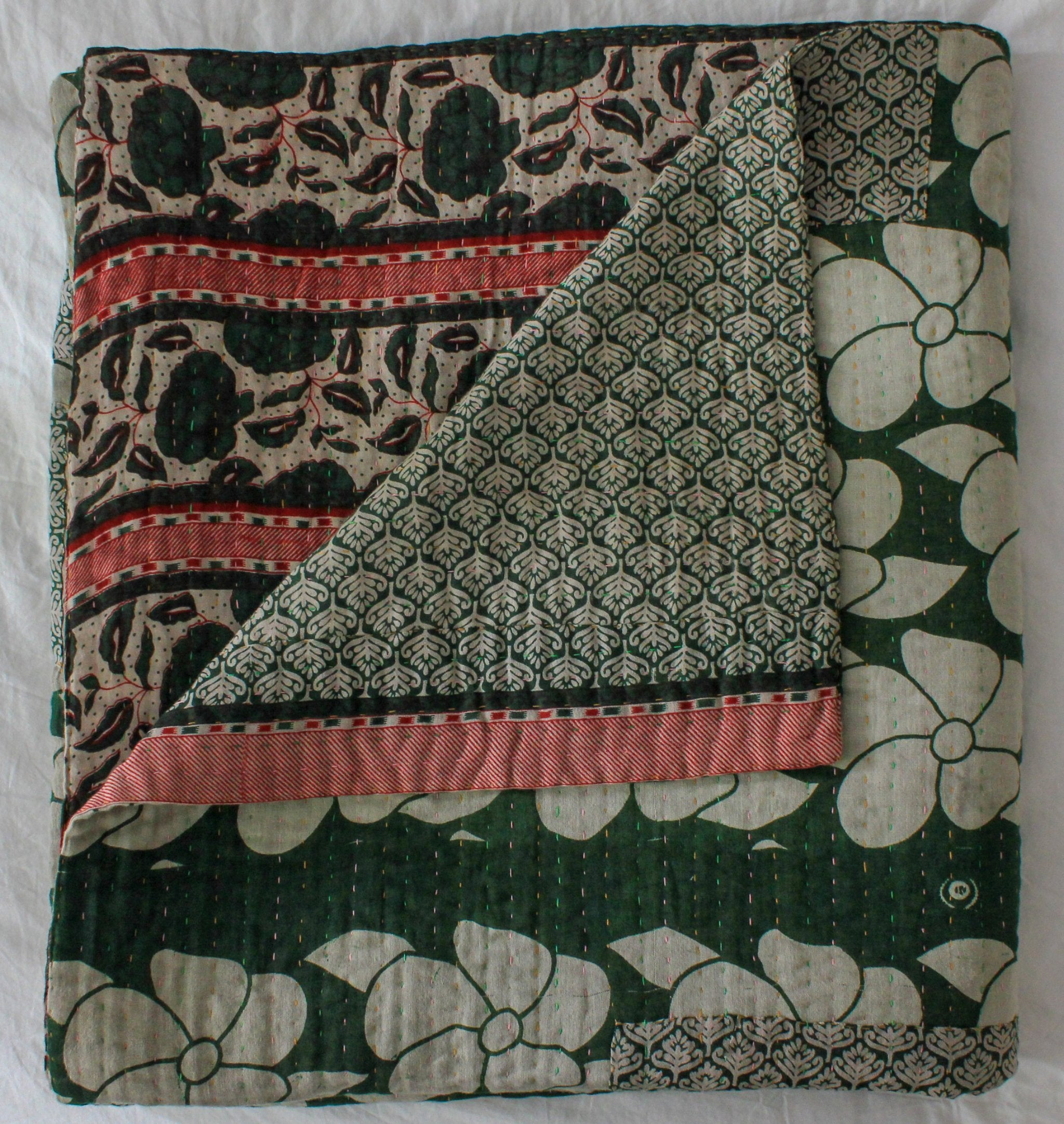 Vintage Kantha Quilt in dark green folded - Anokha Collection