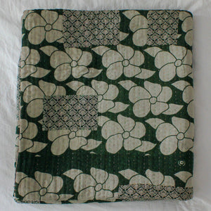 Dark Green Kantha Quilt with white flowers - Anokha Collection