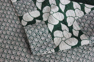 white flowers on dark green Kantha Quilt - Anokha Collection