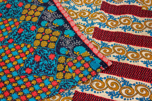 Vintage red and yellow Kantha Quilt detail - Anokha Collection
