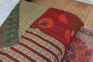 red and yellow Kantha bedspread - Anokha Collection