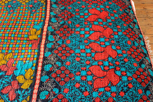 Vintage Kantha Quilt in red and yellow - Anokha Collection