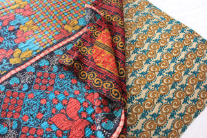 Vintage Kantha Quilt with red and teal flowers- Anokha Collection
