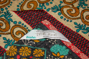 Vintage Kantha Quilt in red and teal label - Anokha Collection