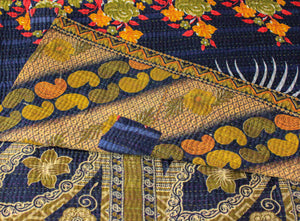 Vintage Yellow Kantha Quilt detail - Anokha Collection