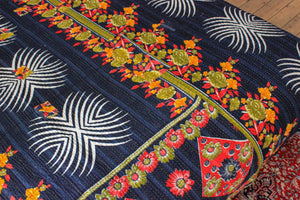blue Kantha bedspread detail - Anokha Collection