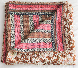 Pink and brown Vintage Kantha Quilt - Anokha Collection