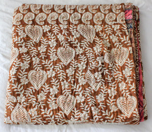 Vintage Kantha Quilt in brown with traditional pattern - Anokha Collection