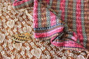 pink and brown Vintage Kantha Quilt detail - Anokha Collection
