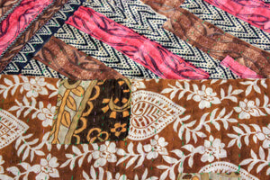 Vintage Kantha Quilt in pink and brown detail - Anokha Collection
