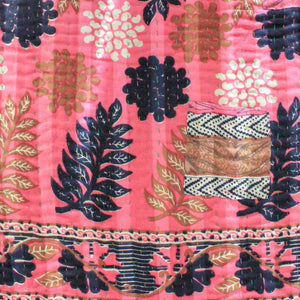 Vintage Kantha Quilt in pink detail - Anokha Collection