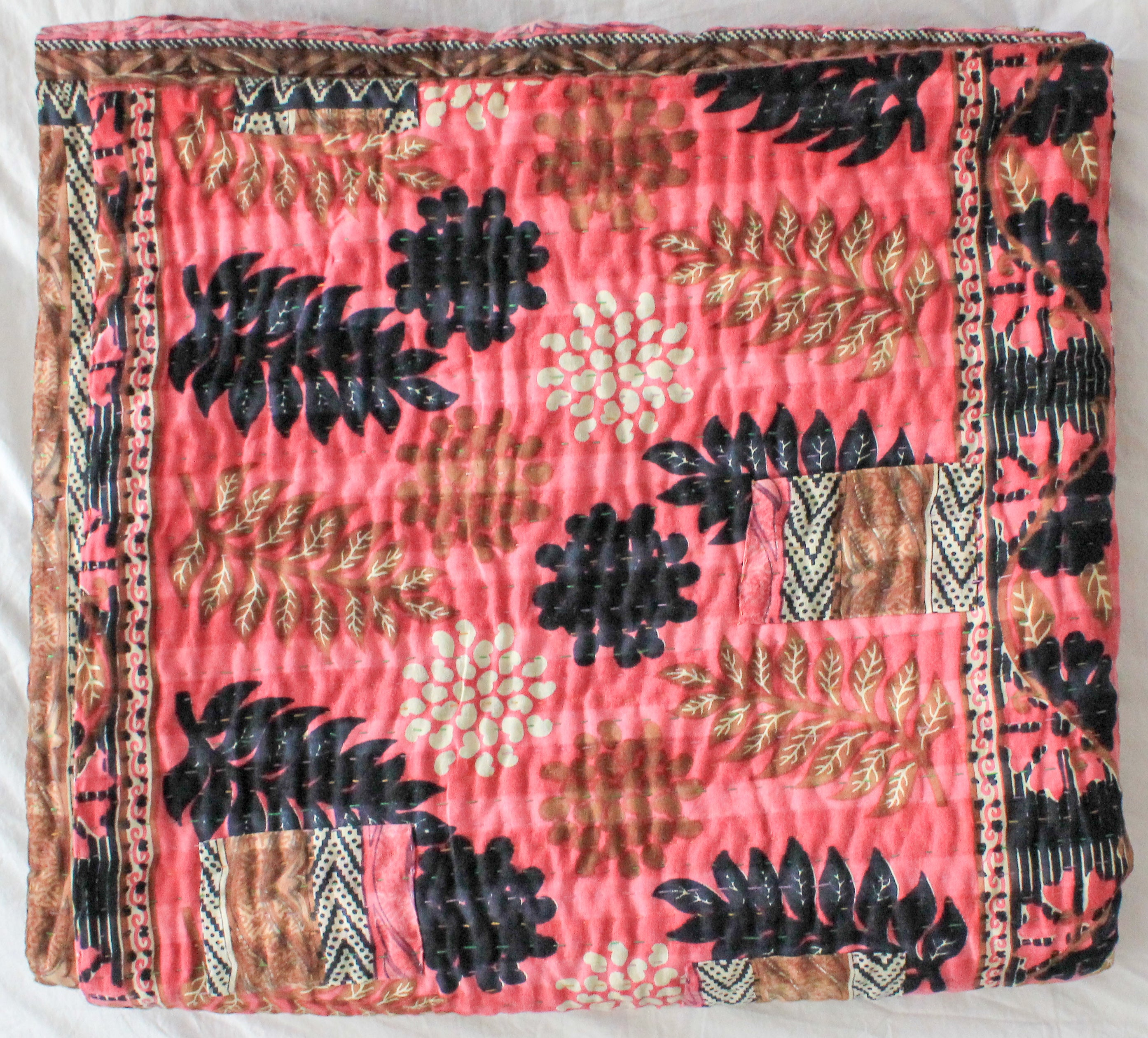 Vintage Kantha Quilt in pink with blue leaves - Anokha Collection
